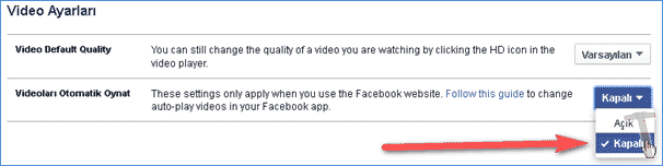 Facebook Otomatik Oynatılan Video Özelliğini Kapatma 5