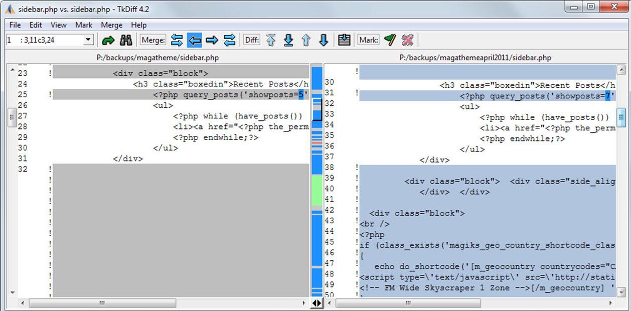 tkdiff dosya karşılaştırma programı açıklaması