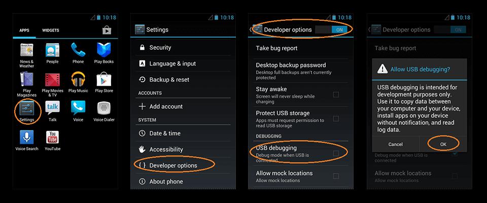 android 3.0 için usb hata ayıklama