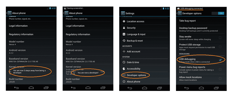 android 4.2.x ve yukarısı sürümler için usb hata ayıklama