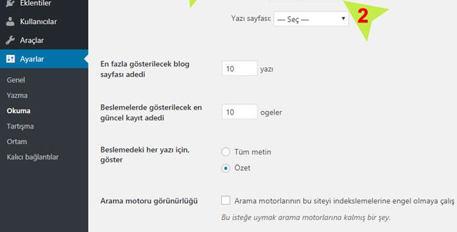Wordpress de Açılış Sayfası Değiştirme 1