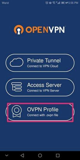 Bağlantı türü olarak OVPN Profili seçiyoruz