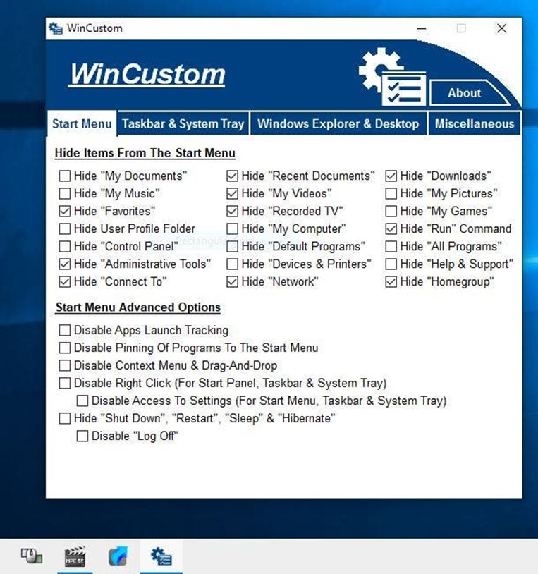 WinCustom bedava yazılım ile Windows da çeşitli ayarları hızlıca yapın 1
