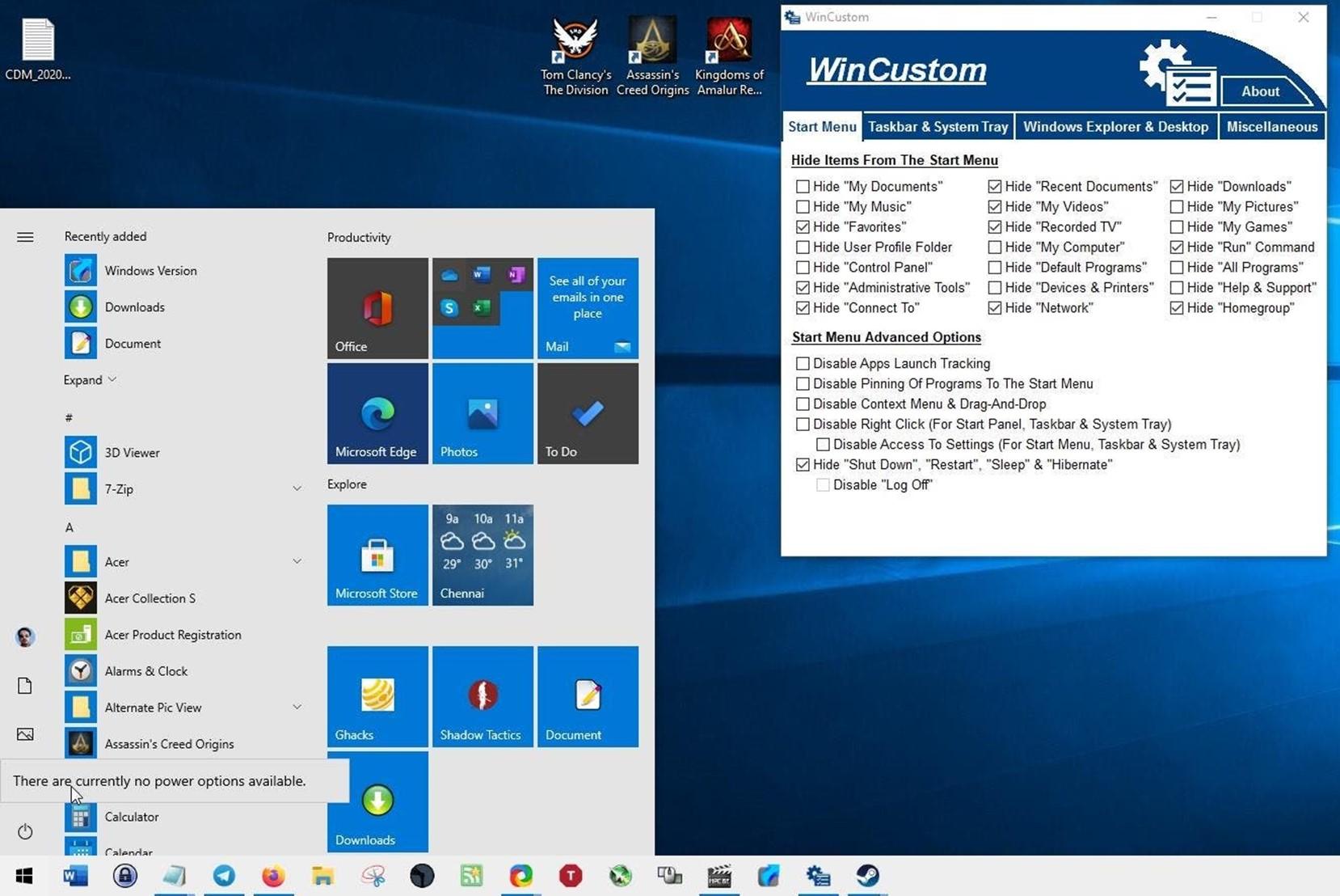 WinCustom bedava yazılım ile Windows da çeşitli ayarları hızlıca yapın 2