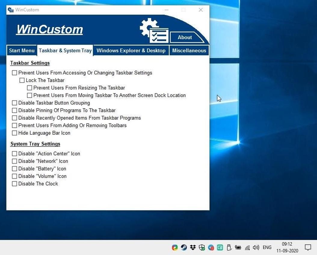 WinCustom bedava yazılım ile Windows da çeşitli ayarları hızlıca yapın 3
