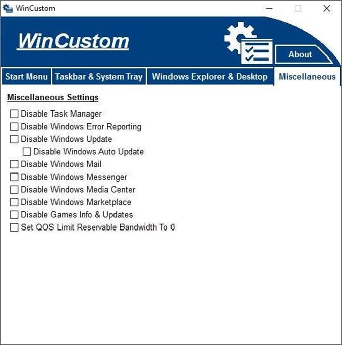 WinCustom bedava yazılım ile Windows da çeşitli ayarları hızlıca yapın 6