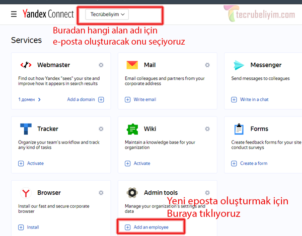 Yandex' e devredilen alan adı için yeni e-posta hesabı oluşturma 1